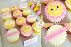 Sunshine cupcakes Baby Shower Cakes, Baby Shower Cupcakes For Girls, Girl Cupcakes, Fun Cupcakes, Birthday Cupcakes, Yellow Cupcakes, Lemon Cupcakes, Strawberry Cupcakes, Pink First Birthday