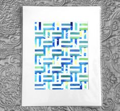 Blue Hatch Watercolor paper weaving - Mixed blue and green watercolor paintings weaved in 3D hatched pattern.