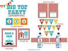 We Heart Parties: Free Printable Party Decor, Banners, Cupcake Toppers, Water Bottle Labels Big Top Circus Party