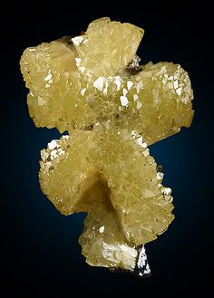 """Adamite, Sparkling transparent to translucent terminated yellow crystals forming """"pin-wheels"""" to 1.8 cm across, these studded upon a thin limonite matrix"""
