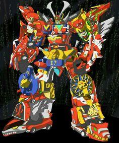 Megazord every red ranger zord in one ultrazord. Power Rangers Megazord, Go Go Power Rangers, Titanium Ranger, Power Ragers, Green Ranger, Hero Time, Mighty Morphin Power Rangers, Super Robot, Dragon Ball Gt