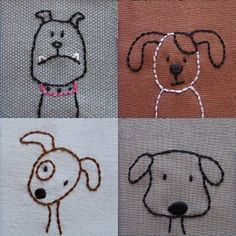 Dogs embroidery pattern.   Would be cute on a little kid jumper or outfit.