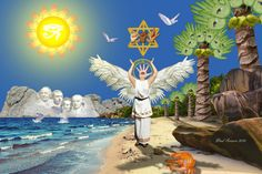 """I used metaphysical symbols in this artwork. The eye of RA (sun god) meant """"creative power"""" or """"creator"""" which I'm the artist. . Merkaba star ~ In ancient Egyptian """"Mer"""" means Light, """"Ka"""" means Spirit, and """"Ba"""" means Body. Mer-Ka-Ba means the Spirit/Body surrounded by counter-rotating fields of Light and is a vehicle to transport one's Spirit/Body from one dimension into another. That's why the title of this artwork is called, """"The Dreamscape of Eyeth""""."""