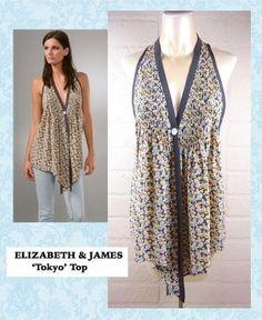 New! ELIZABETH & JAMES $226 Floral Silk Pin-Tuck Sleeveless TOKYO Top XS 0 2 #ElizabethJames #TankCami #Casual