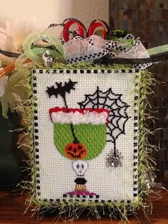 Cocktails my little witches?? Stitched by Kathleen C.