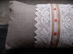 Items similar to Linen and Vintage Lace Cushion on Etsy