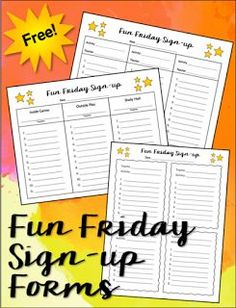 Do you have a problem with kids not completing their work during the week? Learn how to set up a fun friday program, and download these free sign up forms.