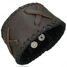 Pulseras de cuero, brazaletes de cuero, pulseras anchas de cuero para hombre y mujer (4) - SilverCode