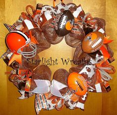 Cleveland Browns Football Mesh Wreath Big by StarlightWreaths, $75.00