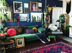 Bohemian Style Furniture Ideas and Designs Eclectic Living Room, My Living Room, Home And Living, Living Room Decor, Eclectic Design, Eclectic Decor, Interior Design, Green Rooms, Home And Deco