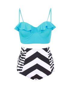 Blue and Black Striped Tankini Set