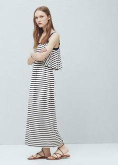 Vestido largo rayas | MANGO