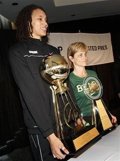 Brittney Griner, AP Player of the Year, and Kim Mulkey, AP Coach of the Year, of the Baylor Lady Bears