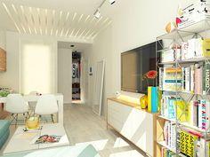 Este simpático apartamento é um projeto do arquiteto Anton Grishin. O pequeno espaço de apenas 29 metros quadrados foi muito bem aproveitado e traz lições