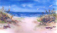 Fused Glass Beach Scene Kitchen Backsplash |