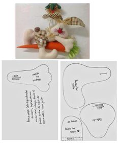 Discussion on LiveInternet - Russian Online Diary Service Bunny Crafts, Felt Crafts, Easter Crafts, Diy Crafts, Felt Animal Patterns, Stuffed Animal Patterns, Baby Sewing Projects, Sewing Patterns For Kids, Primitive Patterns