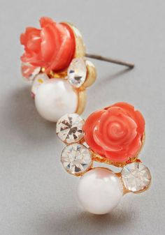 Sashays Gone By Earrings in Coral, #ModCloth, $12.99