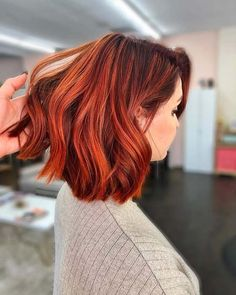 Unique Short Red Hairstyles Ideas That Will Inspire Everyone - Red hair looks classy when styled properly, but red is also a tricky color to deal with. First, you need to choose a shade that complements your skin . Red Ombre Hair, Hair Color Auburn, Red Hair Color, Red Bob Hair, Red Color, Red Hair Dark Roots, Hair Colors, Short Auburn Hair, Deep Auburn Hair