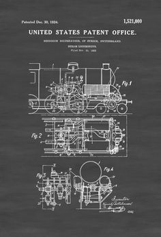 Steam locomotive patent vintage locomotive locomotive blueprint patent print poster of a steam locomotive invented and designed by heinrich boltshauser the patent malvernweather Gallery