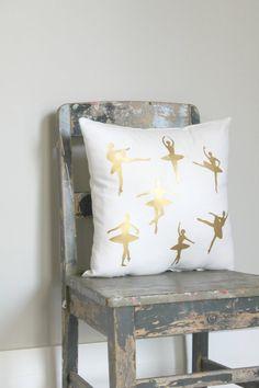 Gorgeous Gold Ballet Dancer Pillow Cover gold by northwestdecor