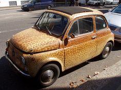 Leopard-print Fiat 500