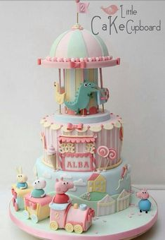 Peppa Pig Cake - what fun and so special, as you just don't see this as a theme very often.
