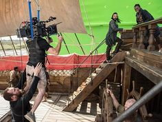 Season 4 uncovers a few smiles hidden among the sails. #BlackSails #BehindTheScenes | Luke Arnold as John Silver and Zethu Dlomo as Madi (Daughter of Mr. Scott and the Maroon Queen)  | STARZ