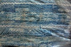 Indigo strip woven and resist dye cotton cloth.  known as Ndop Cloth  Baminiki People, Grassland of Cameroon, Mid 20th century  __ from Esther Fitzgerald Rare Textiles