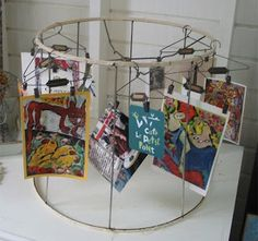 Recycled lampshade art display