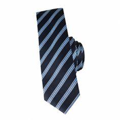 Cravate slim en soie marine à rayures ciel #cravate http://www.cafecoton.fr/cravate-soie-homme/10789-cravate-slim-en-soie-marine-a-pois-fuchsia.html