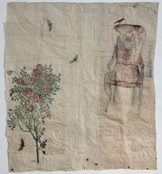 Kiki Smith, Beannacht, 2010, Collage drawing with Nepalese paper, pencil, and red ink, 223 x 186 cm.