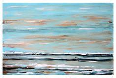 Jennifer Latimer, Subtlety II on OneKingsLane.com. Blue, tan, black and white painting. Emerging Artist 2013.
