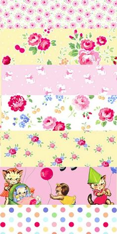 Lakehouse - Pink and Yellow Bundle.  These fun fabrics are from the Pam Kitty Picnic collection by Lakehouse Dry Goods. Featuring Kitties and Puppies at a picnic, with coordinating floral prints, the seven fabrics in this bundle are pinks, whites and yellows. 100% cotton.