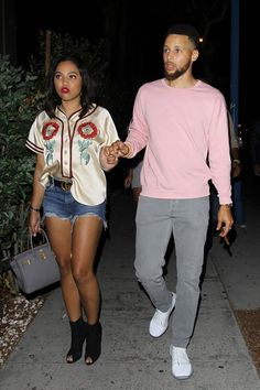 Stephen and Ayesha Curry were spotted outside Hollywood hotspot, Delilah. The couple hit up the lavish nightclub with friends, including Utah Jazz star Rudy Gobert. Stephen Curry Wife, Stephen Curry Family, The Curry Family, Warriors Stephen Curry, Curry Warriors, Ayesha And Steph Curry, Steph Curry 3, Ayesha Curry, Rudy Gobert