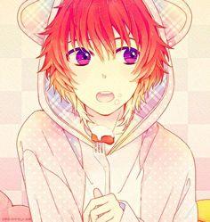 jacket ears pink eyes reddish hair anime guy