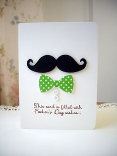father's day card mustache card bowtie card by JDooreCreations Fathers Day Wishes, Fathers Day Crafts, Happy Fathers Day Cards, Mustache Cards, Birthday Cards For Men, Masculine Cards, Creative Cards, Diy Cards, Homemade Cards
