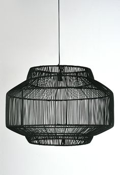 With an outer frame made of black synthetic rattan, this decorative rattan pendant lamp would make a bold statement above your dining or living area. Rattan Pendant Light, Black Pendant Light, Multi Light Pendant, Pendant Lamp, Chandelier Design, Pendant Track Lighting, Chandeliers, Light Project, Fashion Lighting