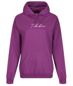 Complement your Tikiboo prints with our stylish and cosy Essence loungewear range!  This magenta hoodie features a white Tikiboo Essence logo, with a warm fleece-lined inner, front pocket and toggles on the hood. Designed with comfort and warmth in mind, this stylish hoodie will get you to and from those winter autumn &  workouts!  These hooded sweatshirts are an oversized loose fit (they may appear baggy as they are designed to be slouchy, with no need to size up). Hooded Sweatshirts, Hoodies, Loungewear, Loose Fit, Magenta, Cosy, Workouts, Range, Warm