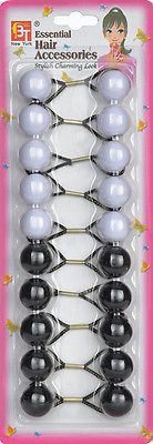 White And Black Elastic Ponytail Holder Beads- Girl Hair Scrunchie Knocker Ball