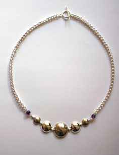 Graduated Bamboo Dome Necklace with Hand Fabricated Chain, Amethyst Beads & Toggle Clasp