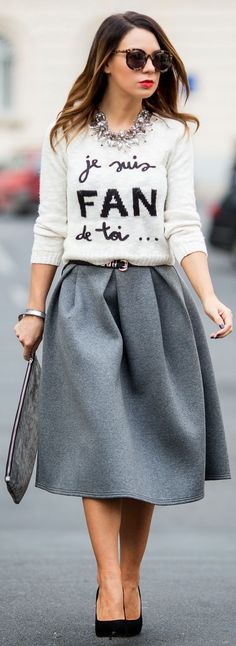 """Je Suis Fan De Toi... by Cashmere In Style. If the skirt was a bit shorter. """"I'm a fan of you"""" so cute!!"""