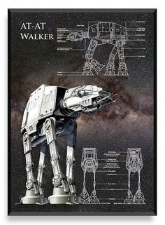 AT-AT Walker Poster Star Wars Ship Star by PatentPrintsPosters