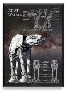 AT-AT Walker Poster, Star Wars Ship, Star Wars Poster, Star Wars Patent, Star…