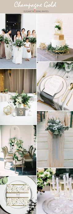Elegant modern champagne gold organic wedding inspiration themes champagne Wedding Trends 10 Gorgeous Wedding Colors with Lush Greenery Champagne Wedding Themes, Gold Wedding Decorations, Gold Wedding Theme, Boho Wedding, Maroon Wedding Colors, October Wedding Colors, Wedding Color Schemes, Green Gold Weddings, 2018 Wedding Trends