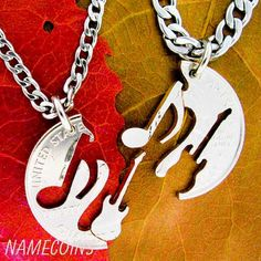 Music Jewelry Electric Guitar and Musical Note by NameCoins, $39.99