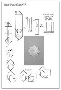 folding diagram for origami unit mandala . Origami Yoda, Gato Origami, Instruções Origami, Origami Cards, Origami Paper Folding, Origami And Kirigami, Origami Dragon, Origami Fish, Origami Star Box