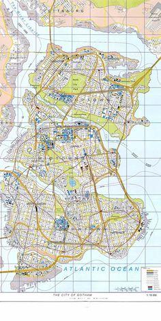 Gotham City Map from The Dark Knight Rises TDKR TDKRfr http://filmgeek.fr/2012/07/24/critique-du-film-the-dark-knight-rises/ #TDKRfr #TDKR