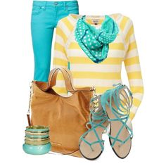 Turquoise & Yellow, created by elenh2005 on Polyvore