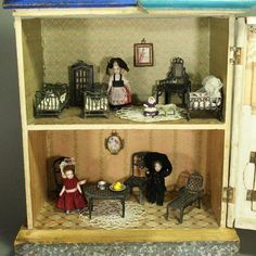 Antique Small Blue Roof Dollhouse for the French Market by Moritz Gottschalk