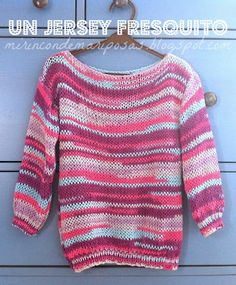 Un jersey fresquito (tutorial) Jumper Patterns, Sweaters For Women, Men Sweater, Diy Fashion, Fashion Design, Crochet Clothes, Knit Crochet, Stripes, Pullover